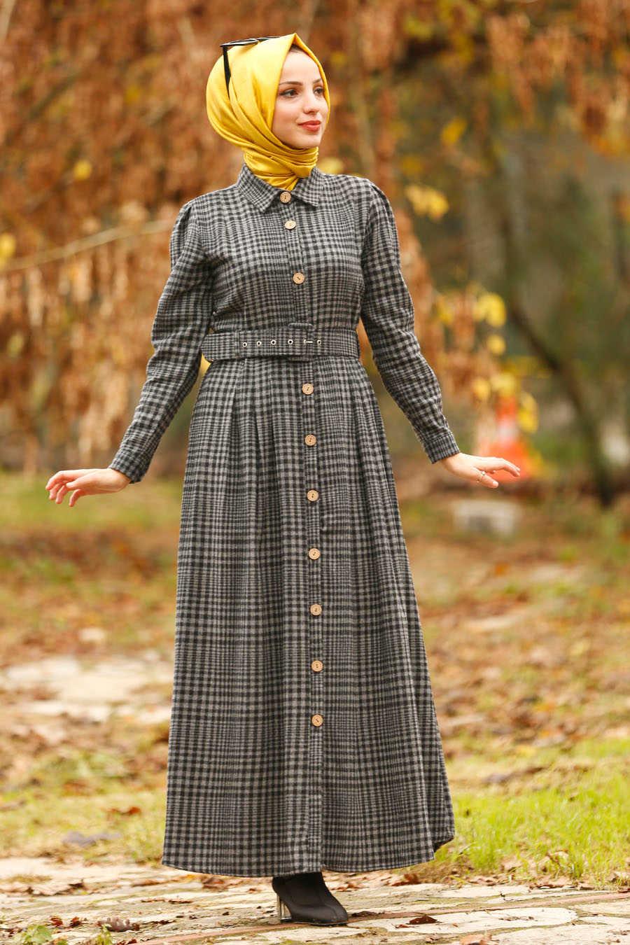 Neva Style - Smoke Color Hijab Dress 1593FU