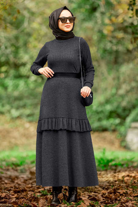 Neva Style - Smoke Color Hijab Dress 4021FU