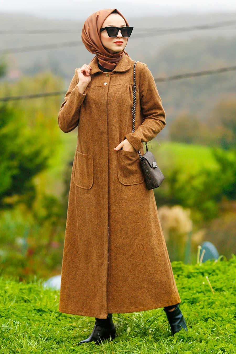 Neva Style - Snuff Colored Hijab Coat 2445TB