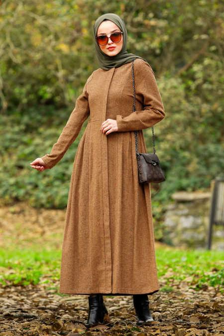 Neva Style - Snuff Colored Hijab Coat 2446TB