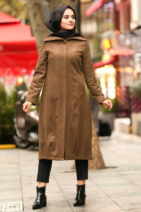 Neva Style - Snuff Colored Hijab Coat 2453TB