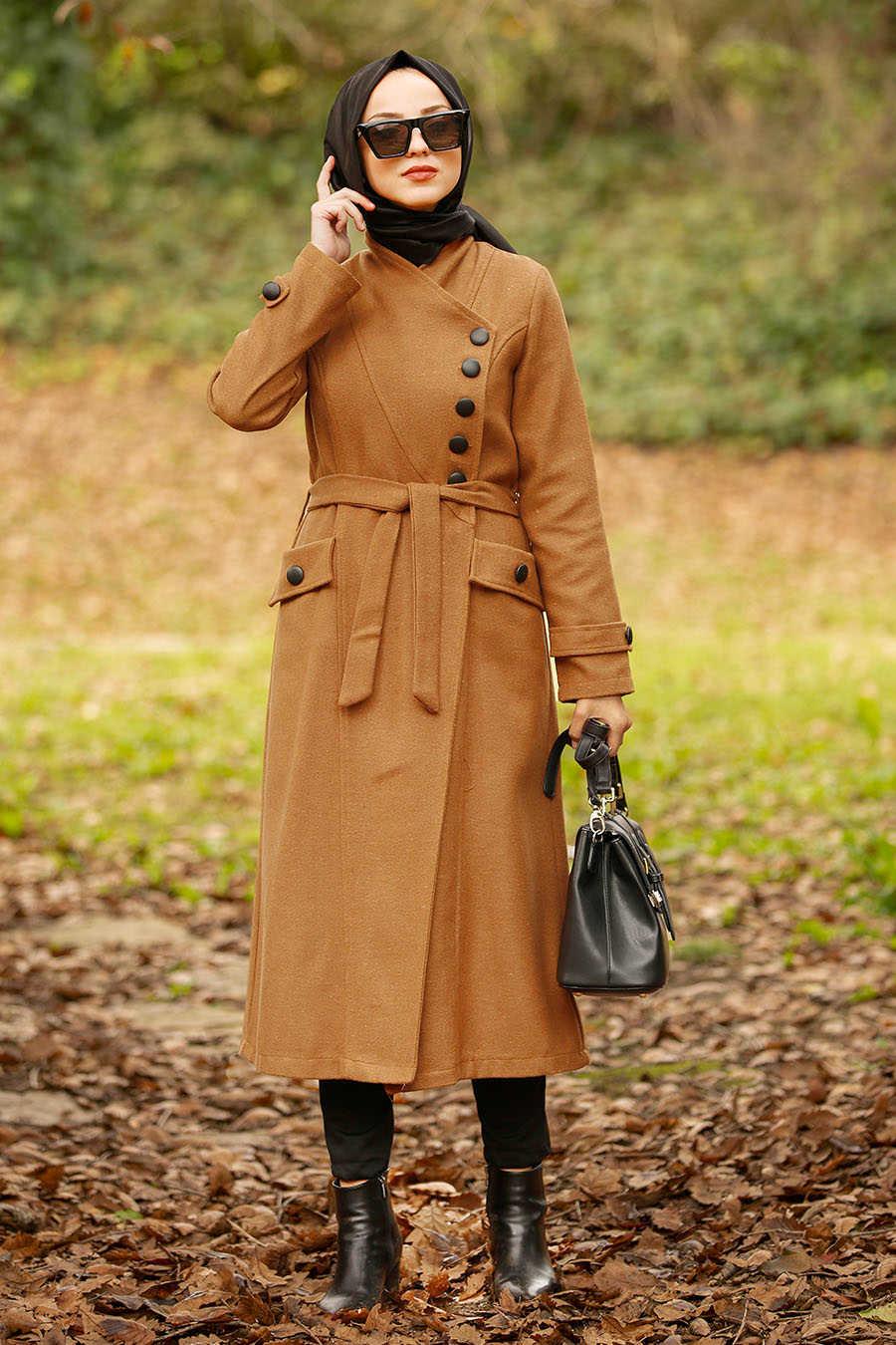 Neva Style - Snuff Colored Hijab Coat 4420TB