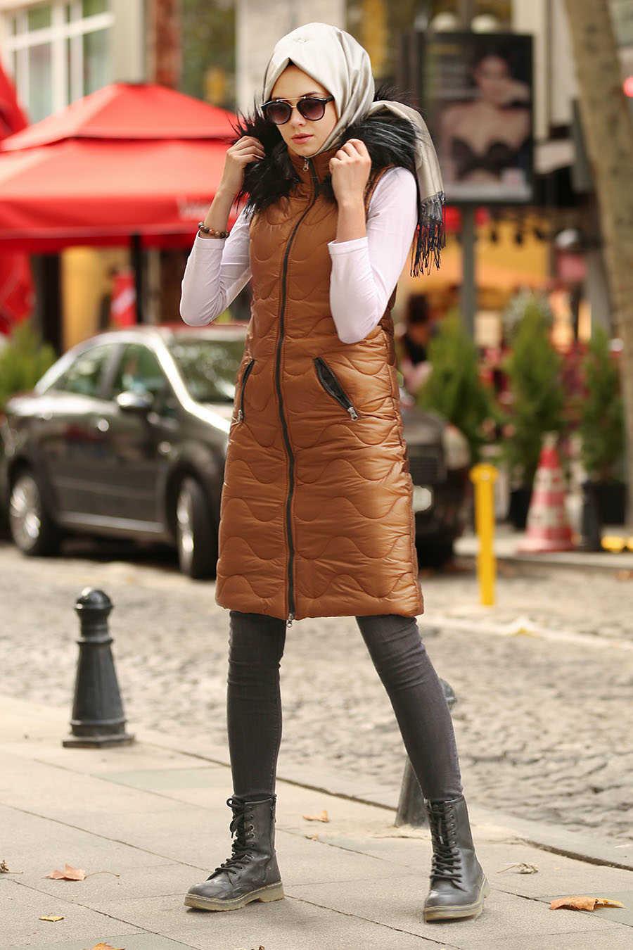 Neva Style - Snuff Colored Hijab Coat 5005TB