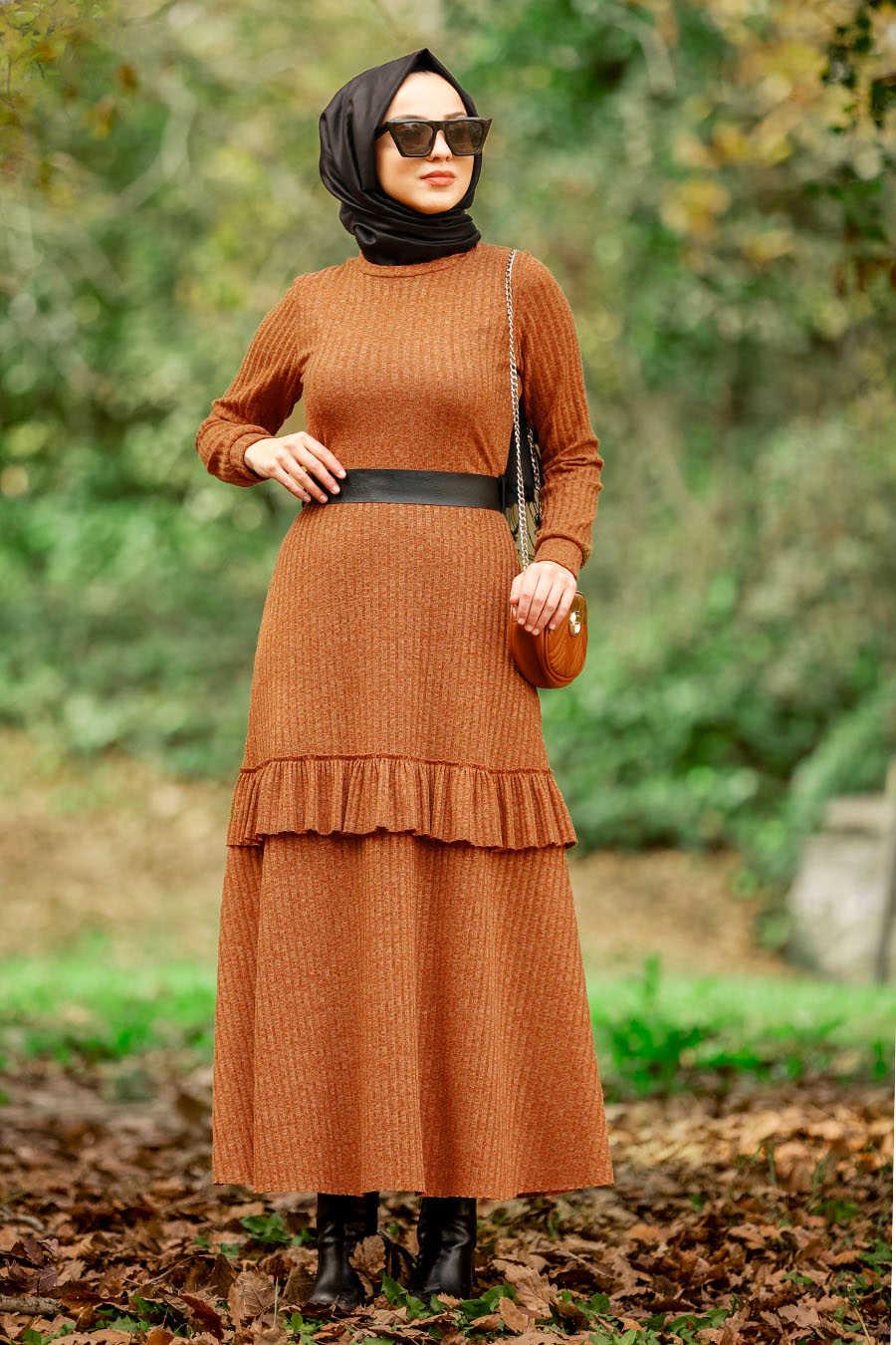 Neva Style - Snuff Colored Hijab Dress 4021TB