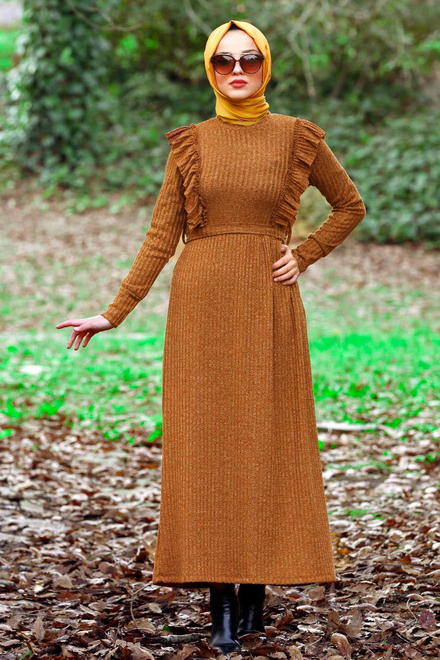 Neva Style - Snuff Colored Hijab Dress 4032TB