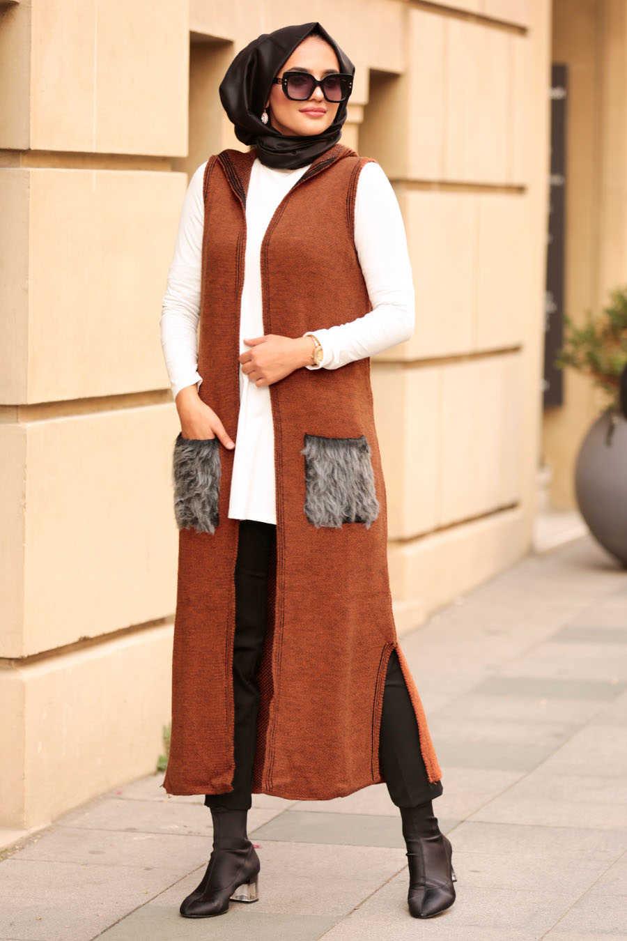 Neva Style - Snuff Colored Hijab Vest 61160TB