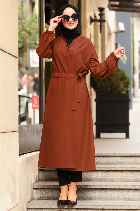 Neva Style - Terra Cotta Hijab Abaya 5466KRMT