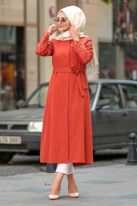 Neva Style - Terra Cotta Hijab Abaya 2356KRMT