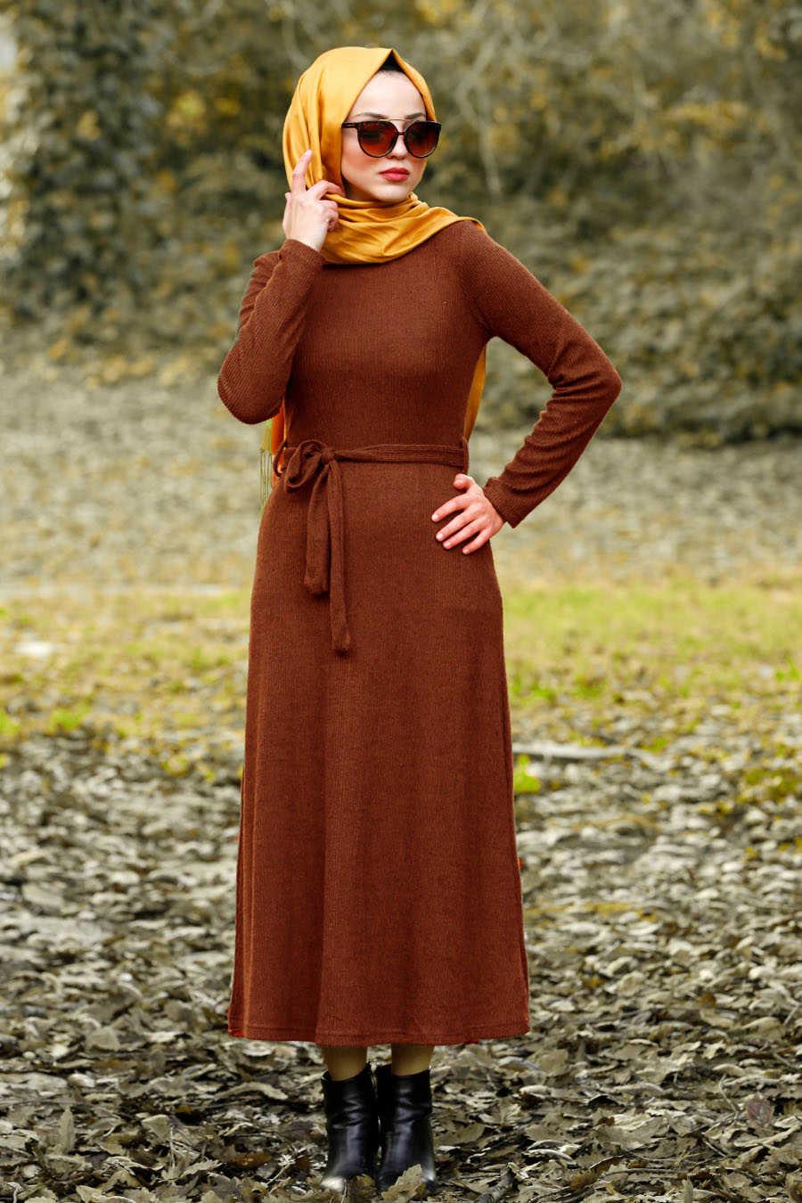 Neva Style - Terra Cotta Hijab Dress 1602KRMT