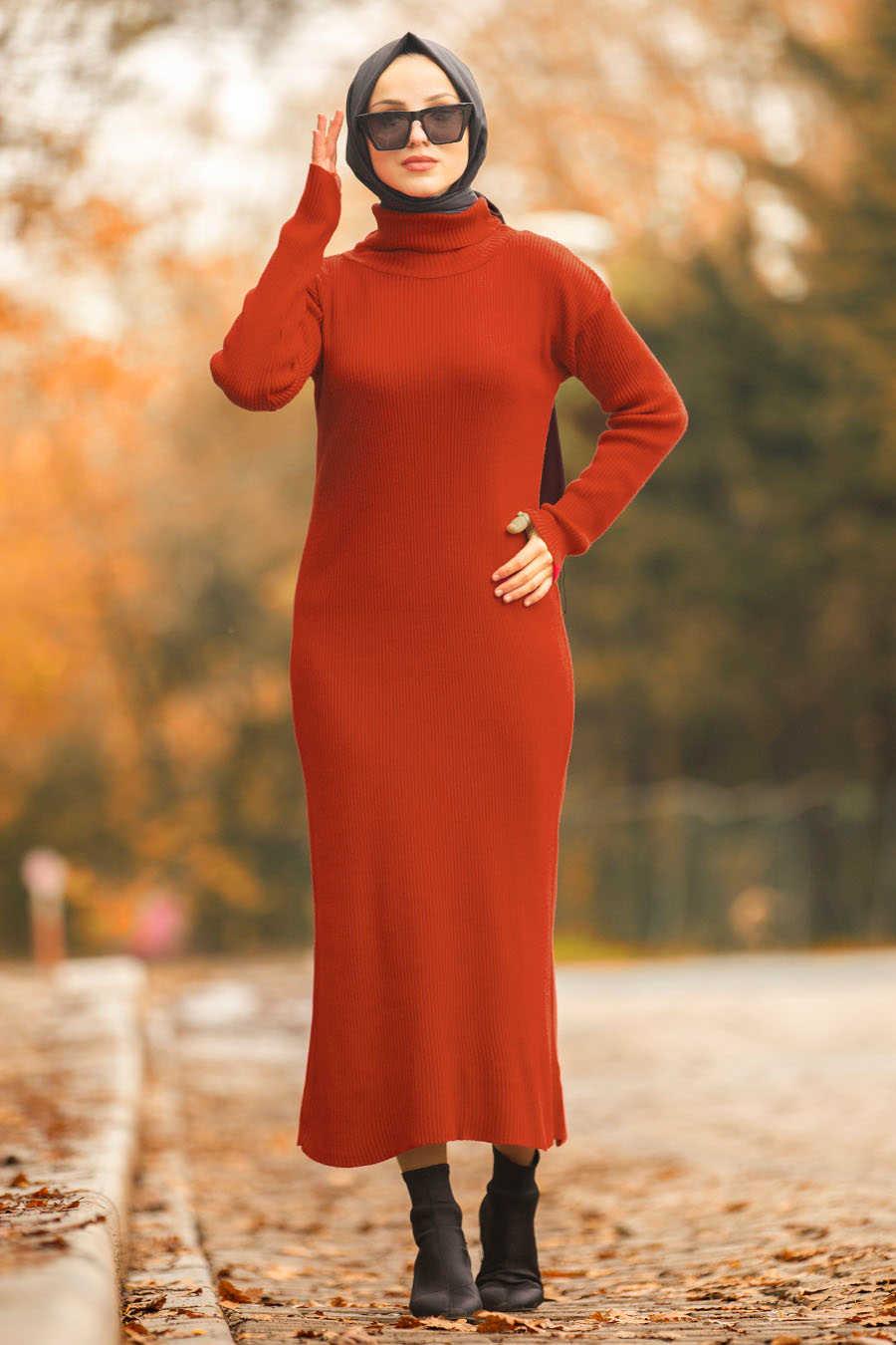 Neva Style - Terra Cotta Hijab Dress 2101KRMT