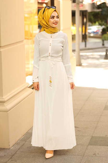 7d00d5cc947b Neva Style - White Hijab Dress 31751B - Neva-style.com