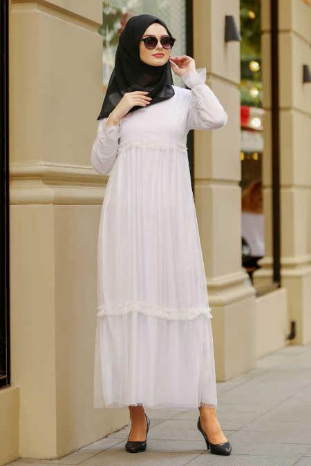 416df90f8118 Neva Style - White Hijab Dress 41520B - Neva-style.com