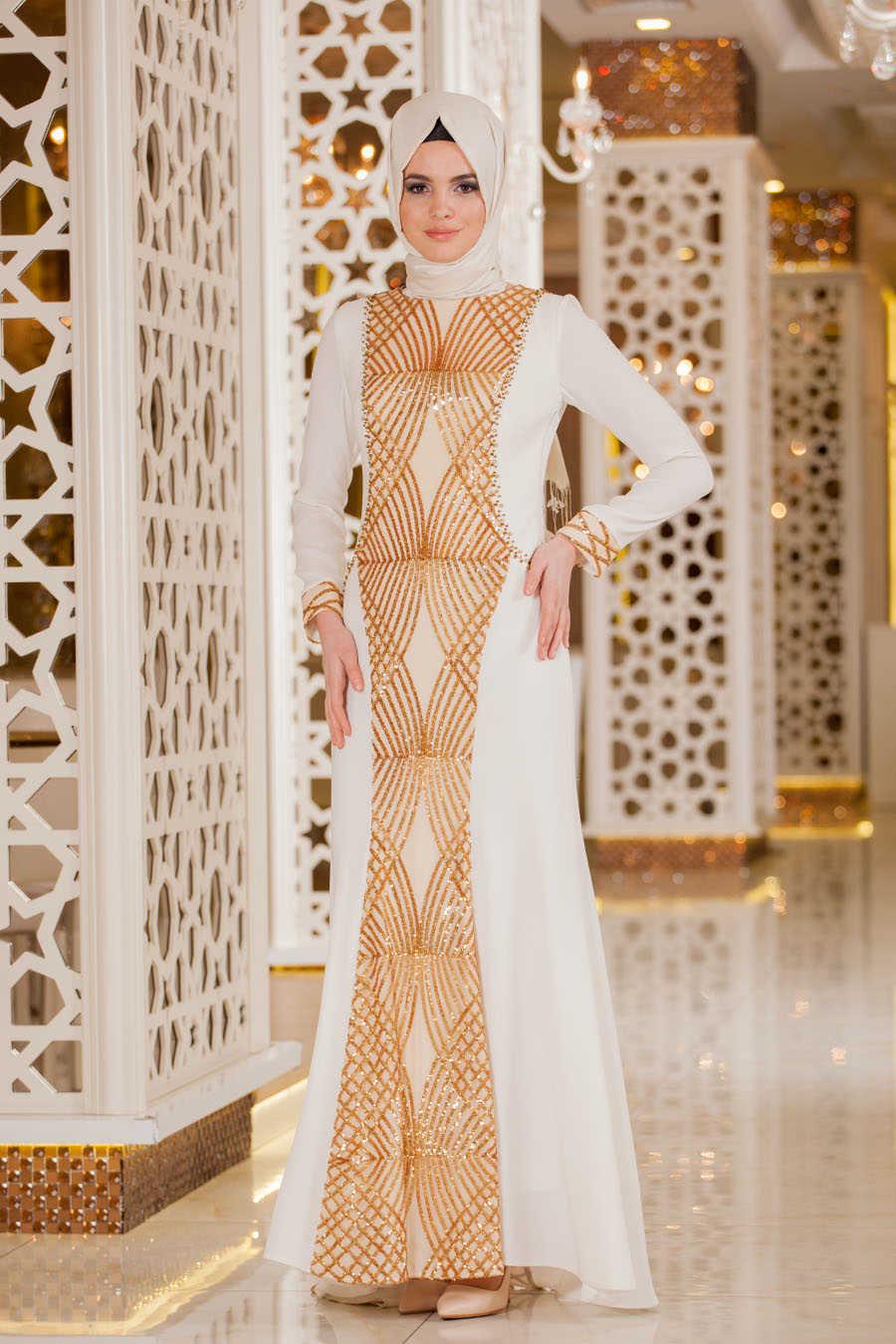 8f722fba2124 Neva Style - White Hijab Evening Dress 2167B - Neva-style.com