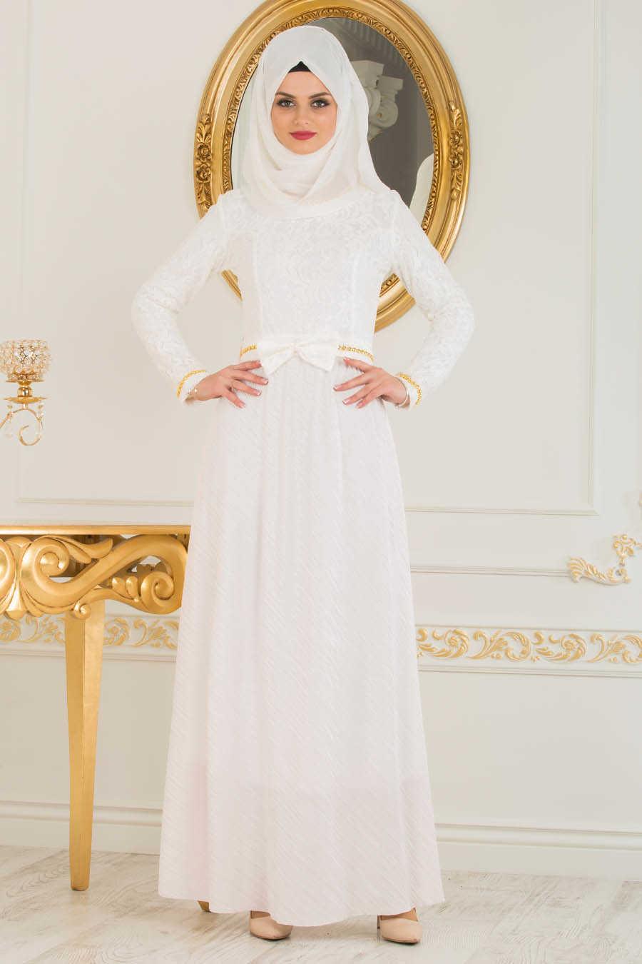 4f330f5db898 Neva Style - White Hijab Evening Dress 40370B - Neva-style.com