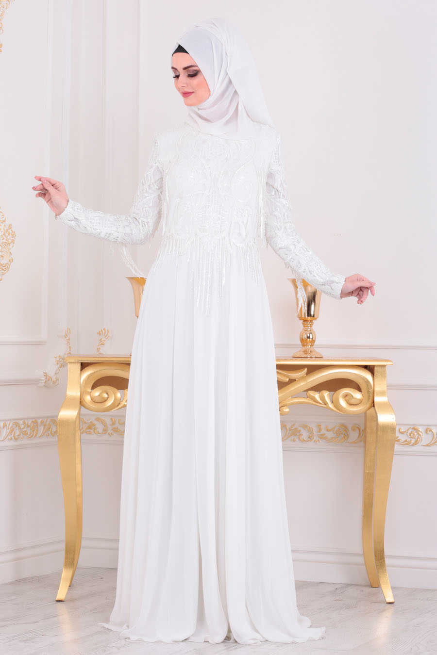 Neva Style - White Hijab Evening Dress 4591B