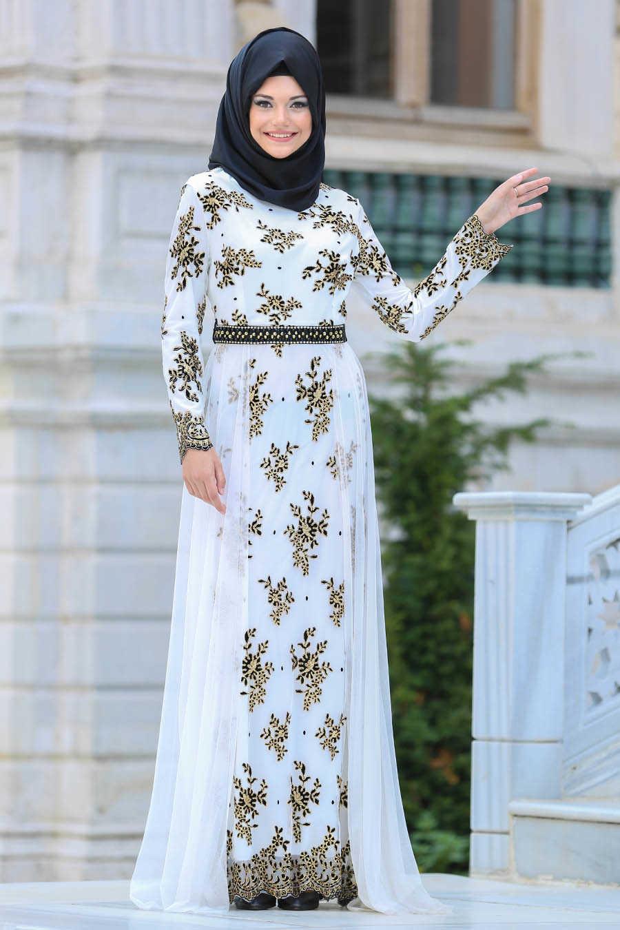 2fe9d2e7ce1a Neva Style - White Hijab Evening Dress 6370B - Neva-style.com