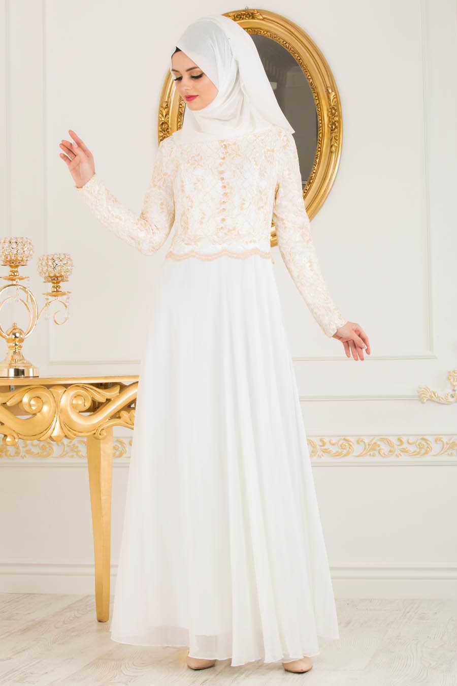 0496014bc933 Neva Style - White Hijab Evening Dress 7960B - Neva-style.com