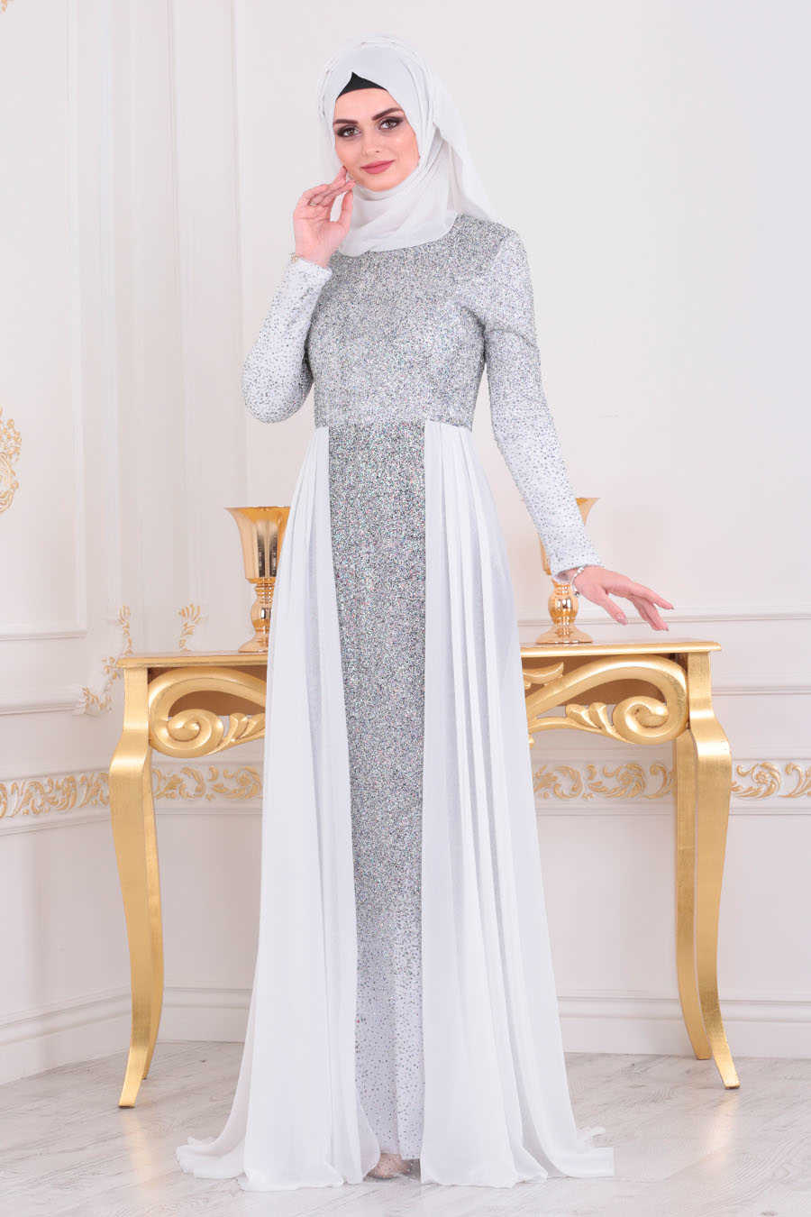 Neva Style - White Hijab Evening Dress 90020B