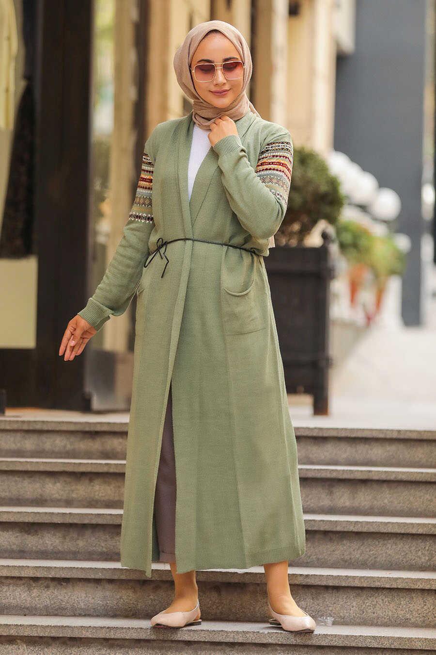 Almond Green Hijab Cardigan 15725CY