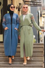 Almond Green Hijab Cardigan 15725CY - Thumbnail