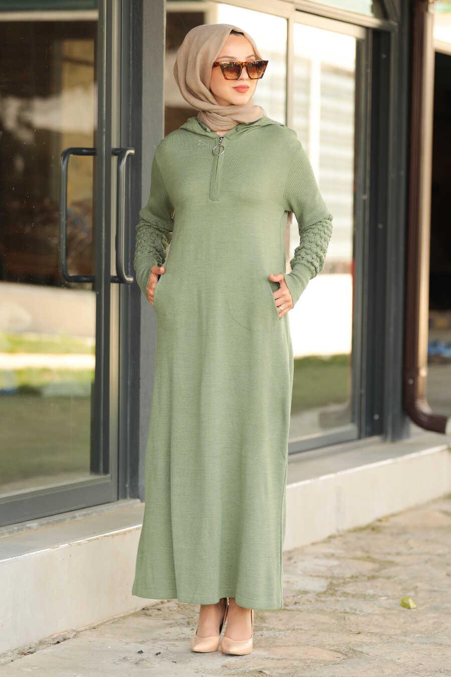 Almond Green Hijab Dress 2343CY