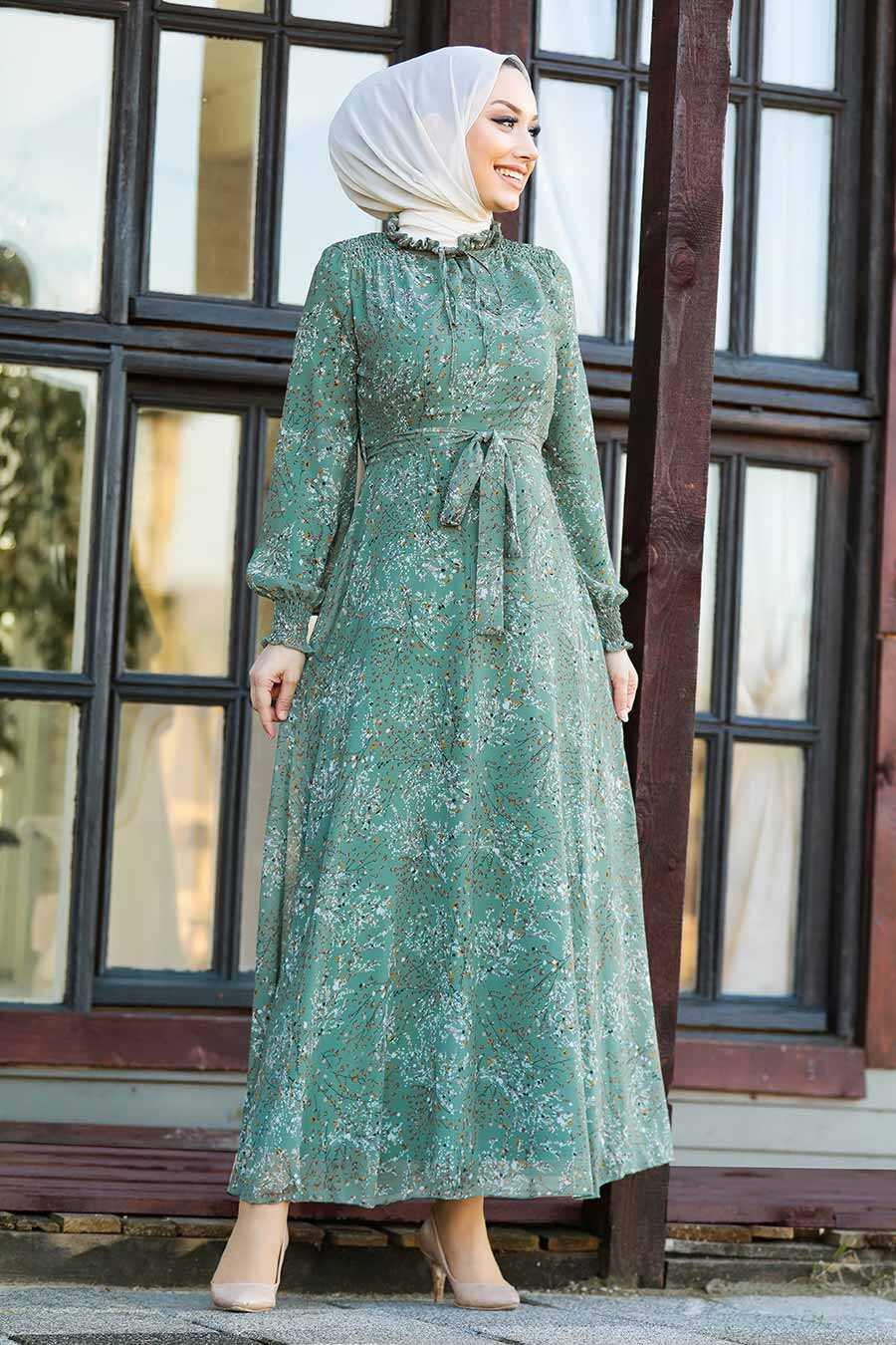 Almond Green Hijab Dress 27908CY