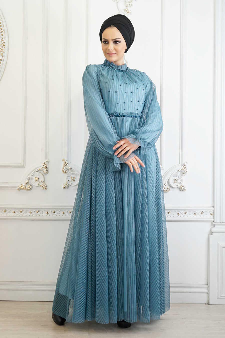 Almond Green Hijab Evening Dress 22450CY