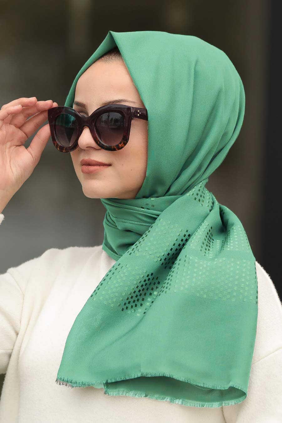 Almond Green Hijab Shawl 7505CY