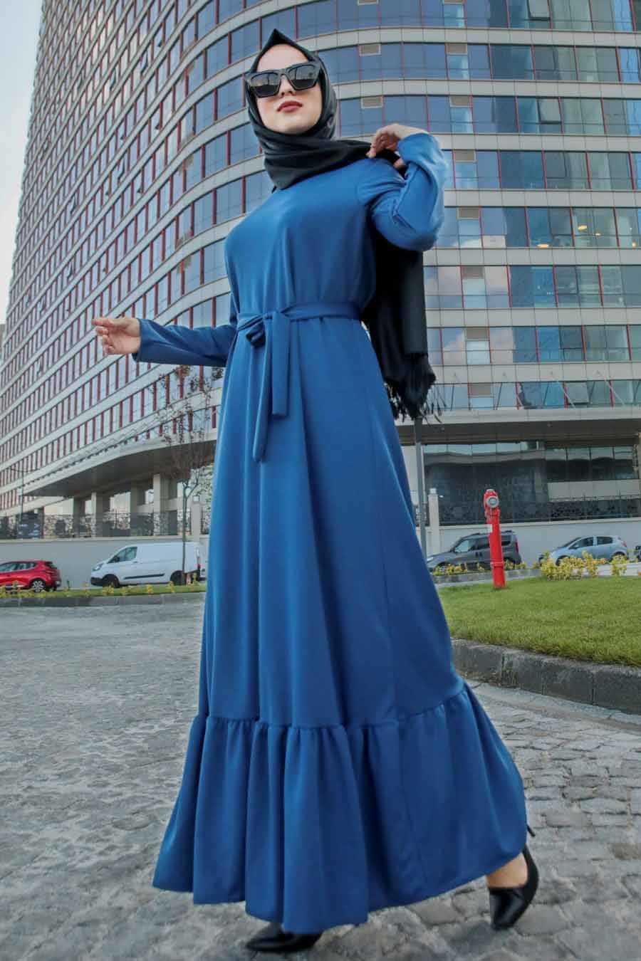 Altı Fırfırlı İndigo Mavisi Tesettür Elbise 2242IM