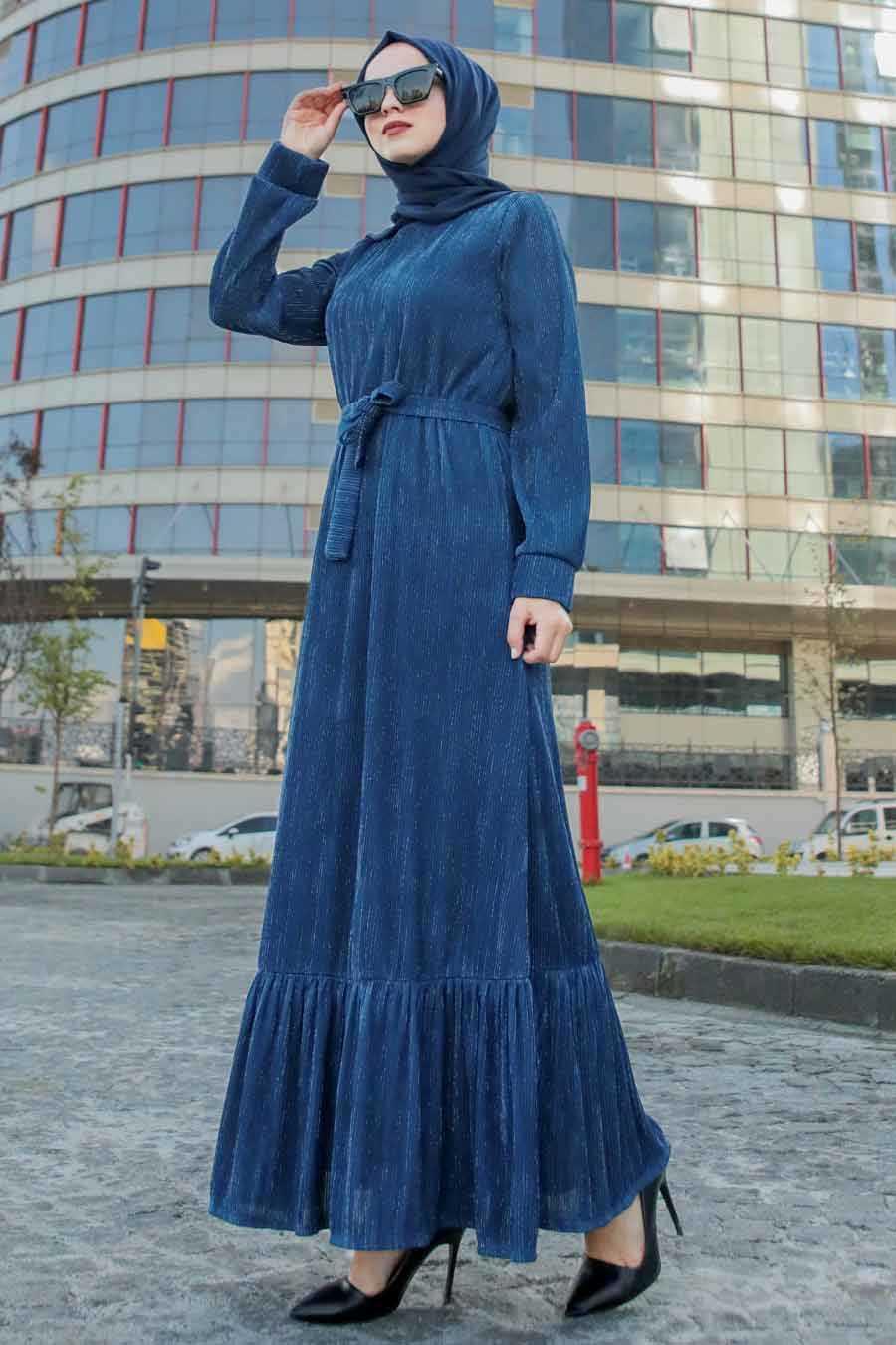 Altı Fırfırlı İndigo Mavisi Tesettür Elbise 2246IM
