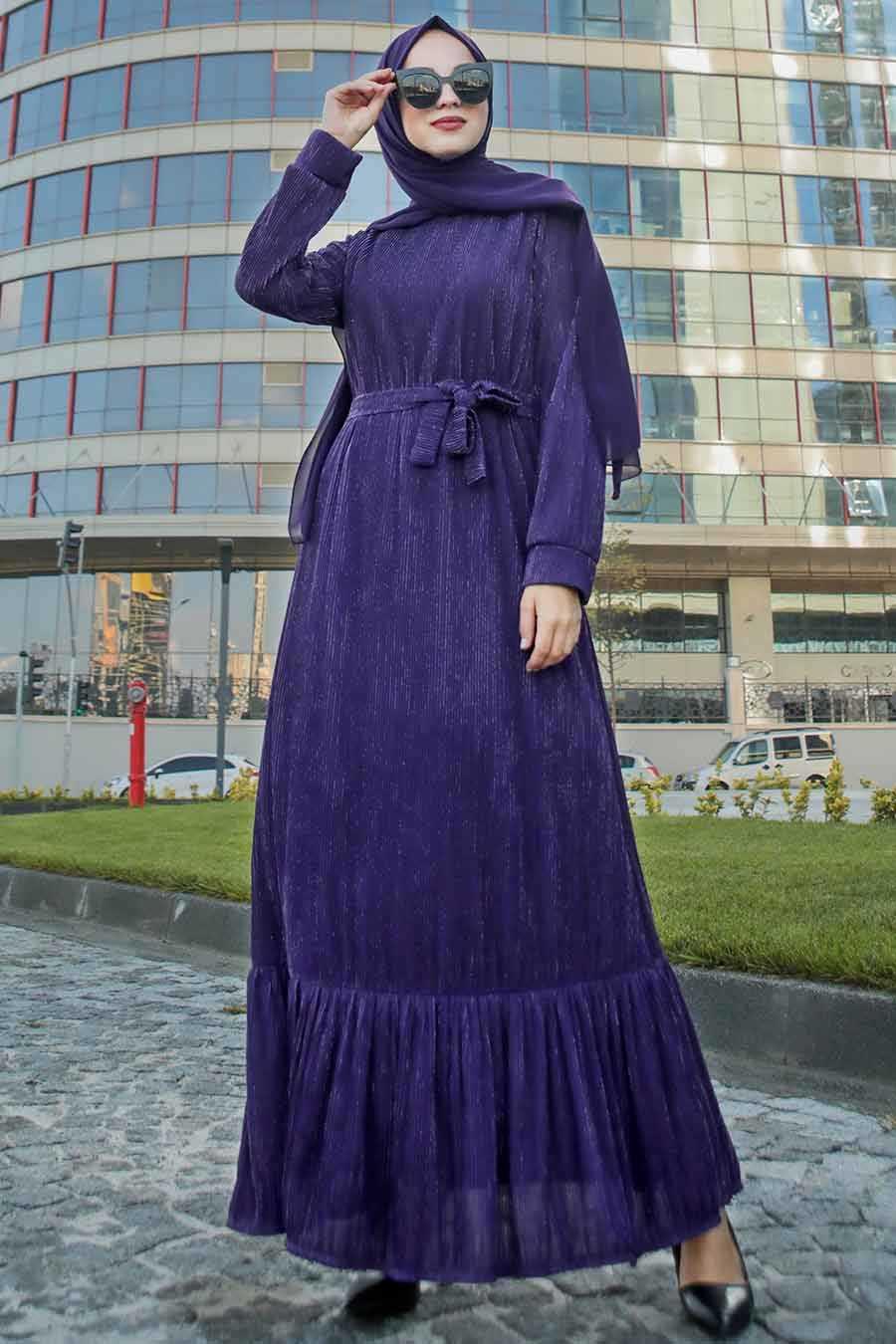 Altı Fırfırlı Mor Tesettür Elbise 2246MOR