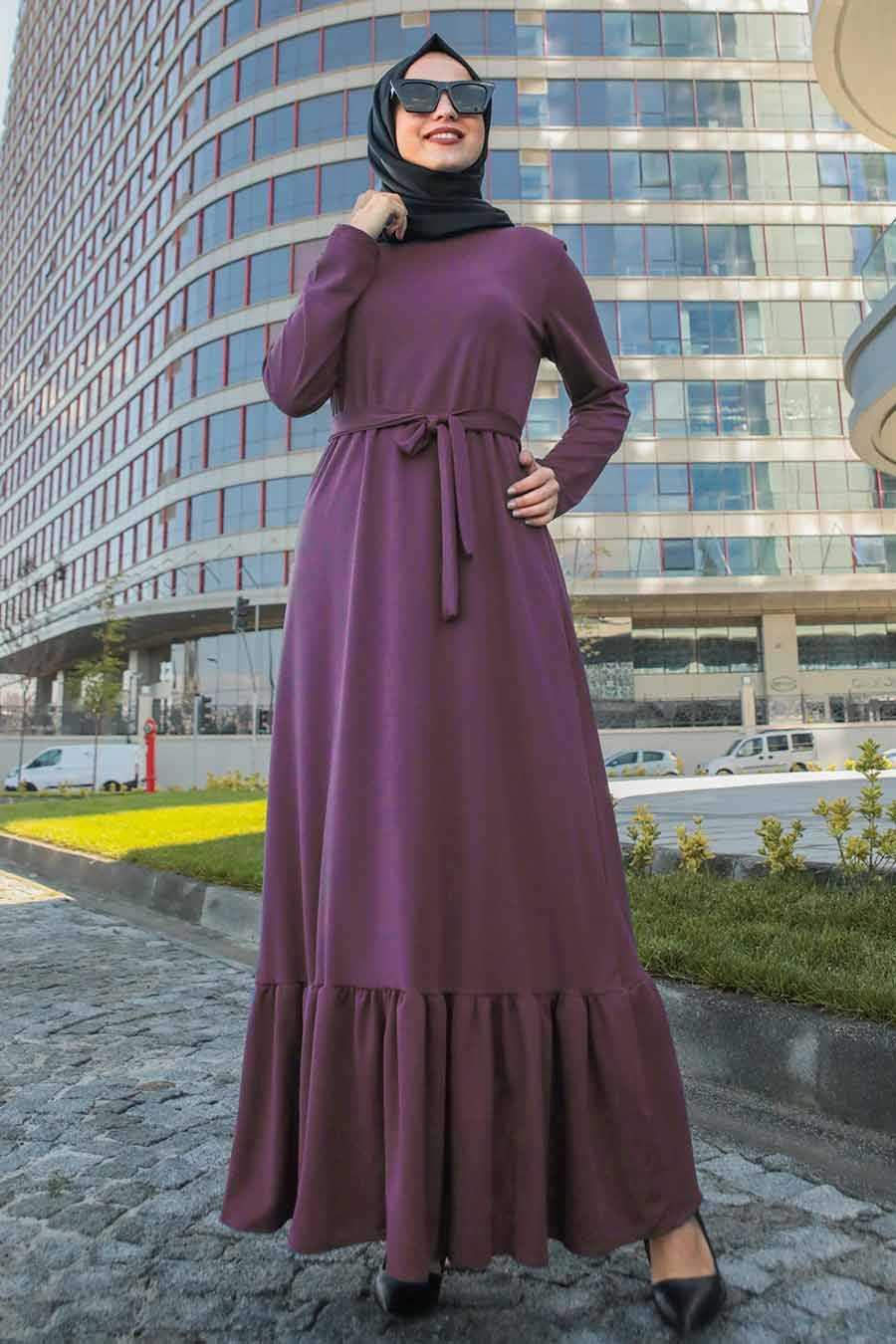 Altı Fırfırlı Mor Tesettür Elbise 2242MOR