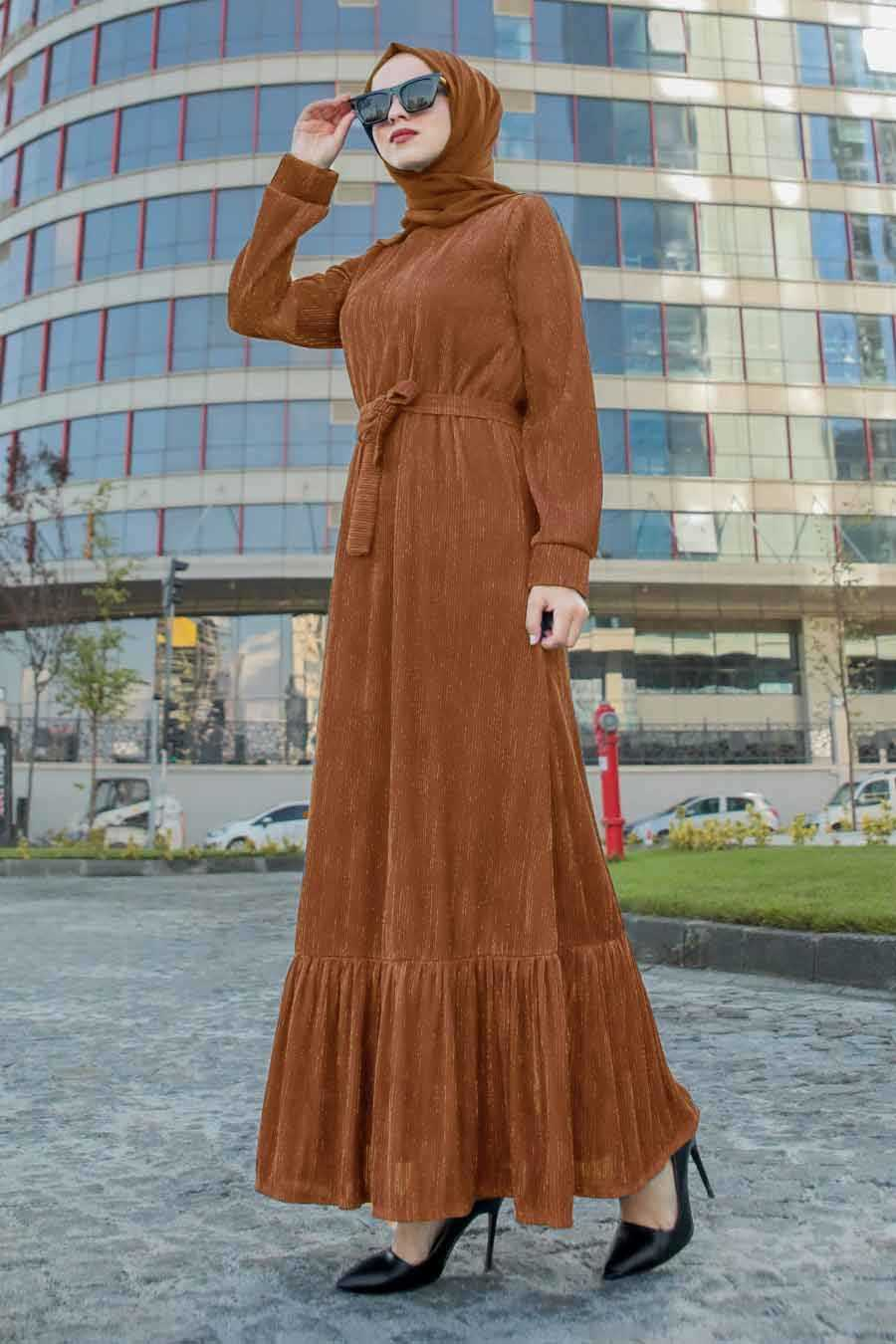 Altı Fırfırlı Taba Tesettür Elbise 2246TB