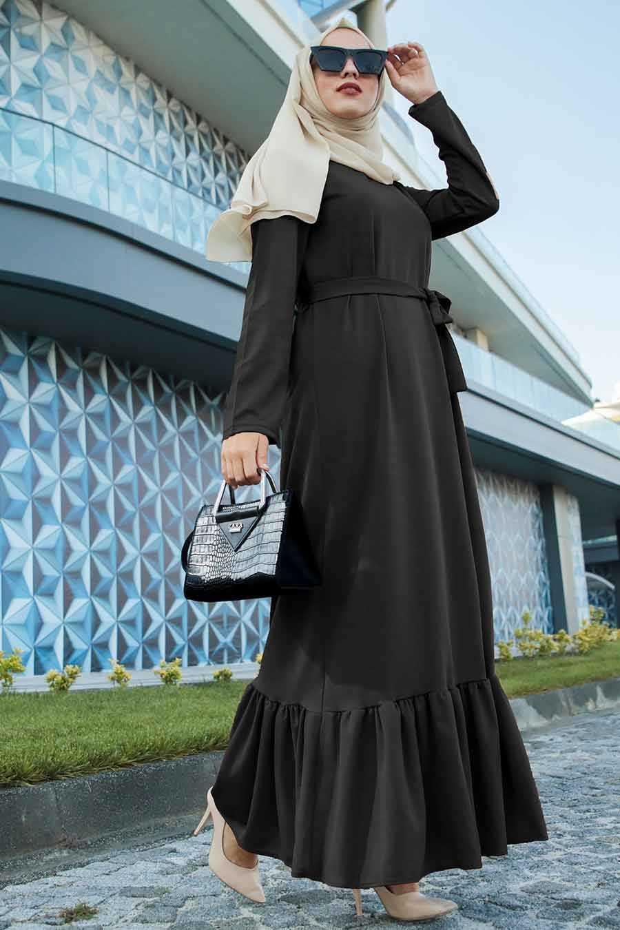 Altı Fırfırlı Siyah Tesettür Elbise 2242S