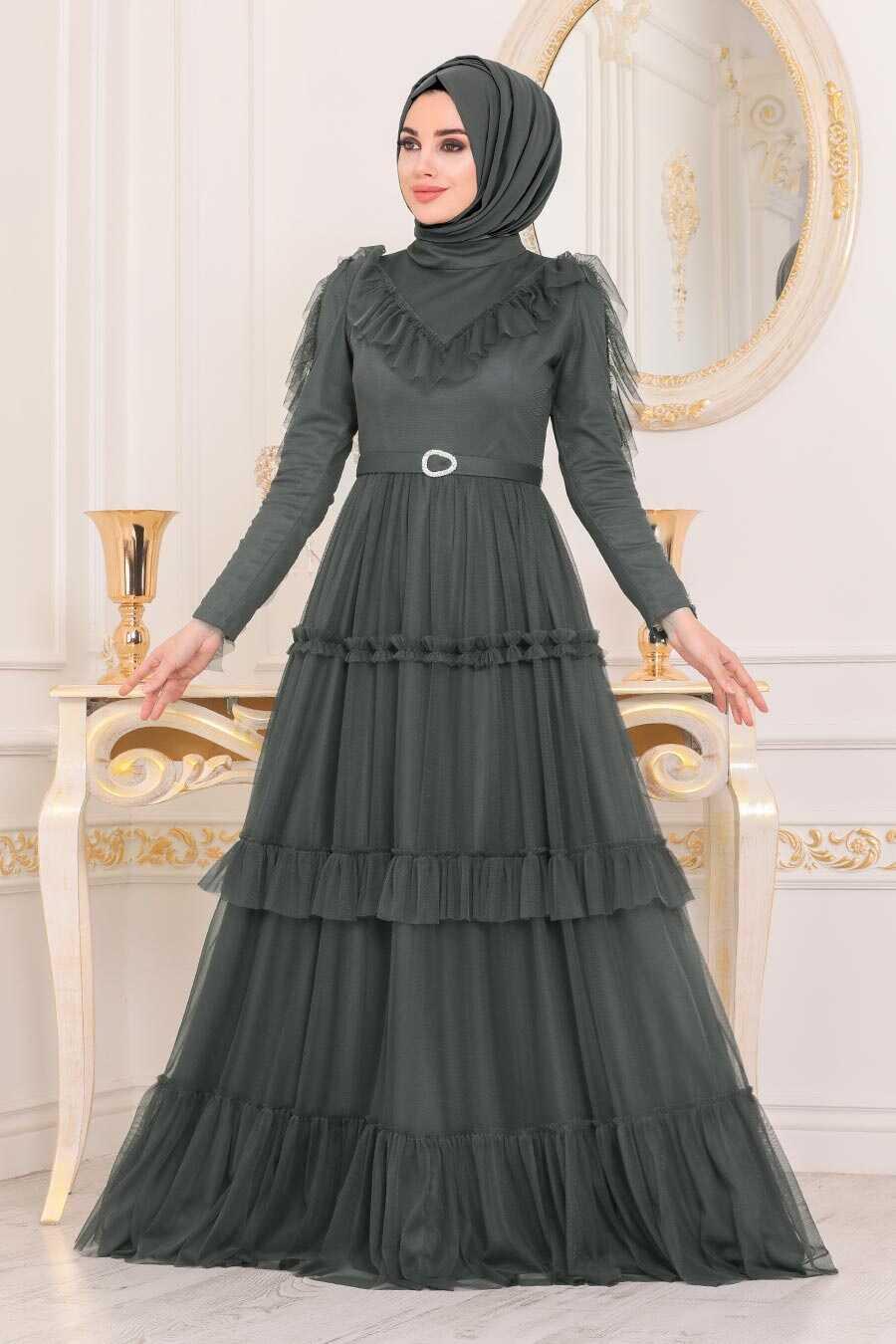 Anthracite Color Hijab Evening Dress 4097AST