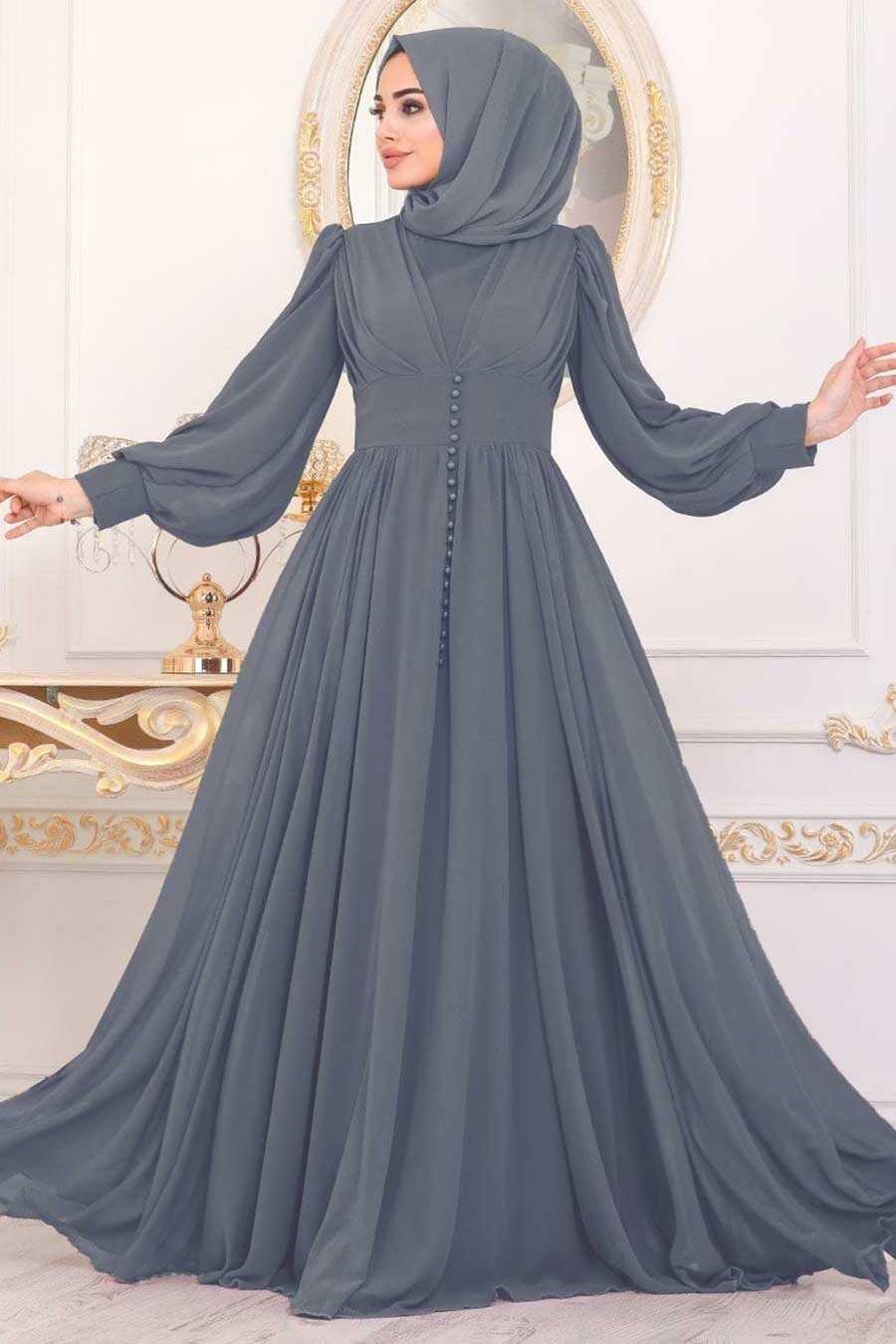 Anthracite Color Hijab Evening Dress 41011AST