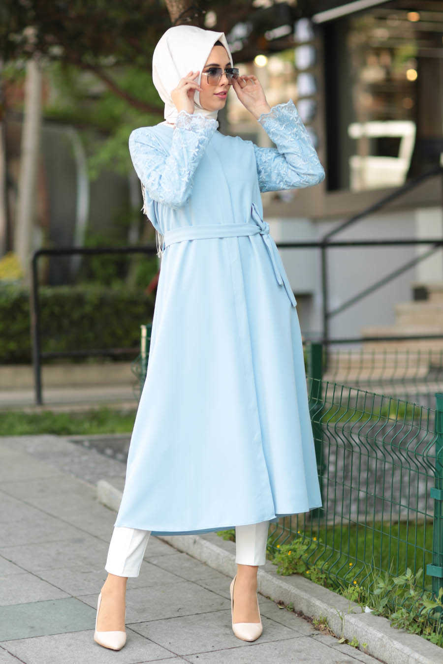 Baby Blue Hijab Coat 2356BM