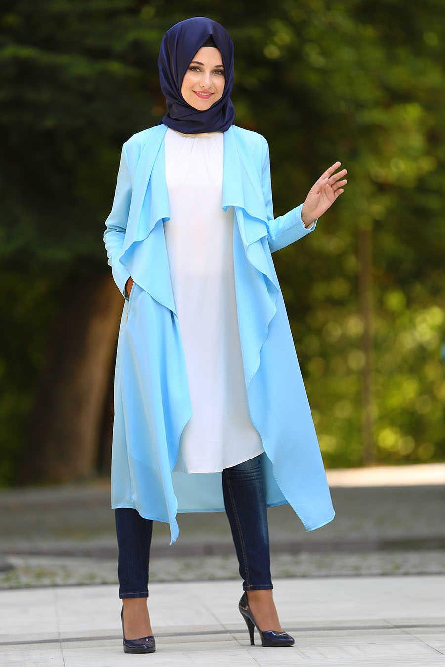 Baby Blue Hijab Coat 52740BM
