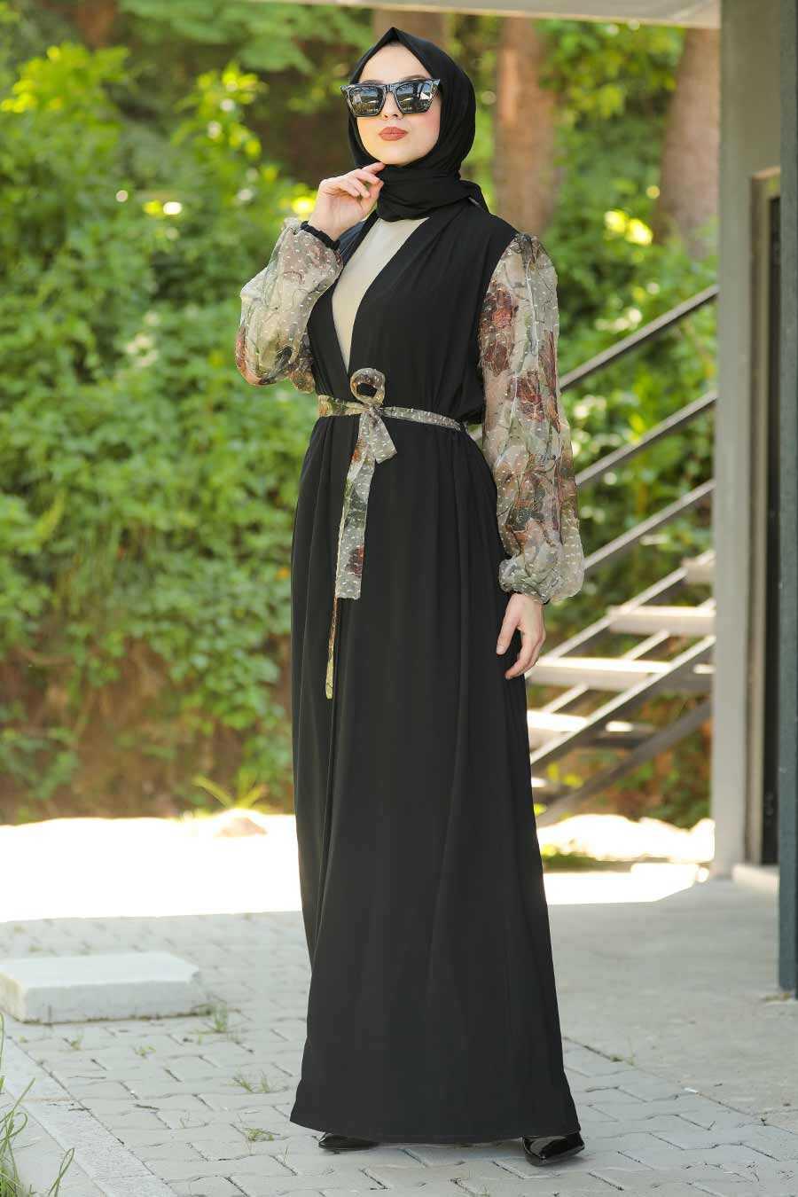 Beige Hijab Abaya 9205BEJ