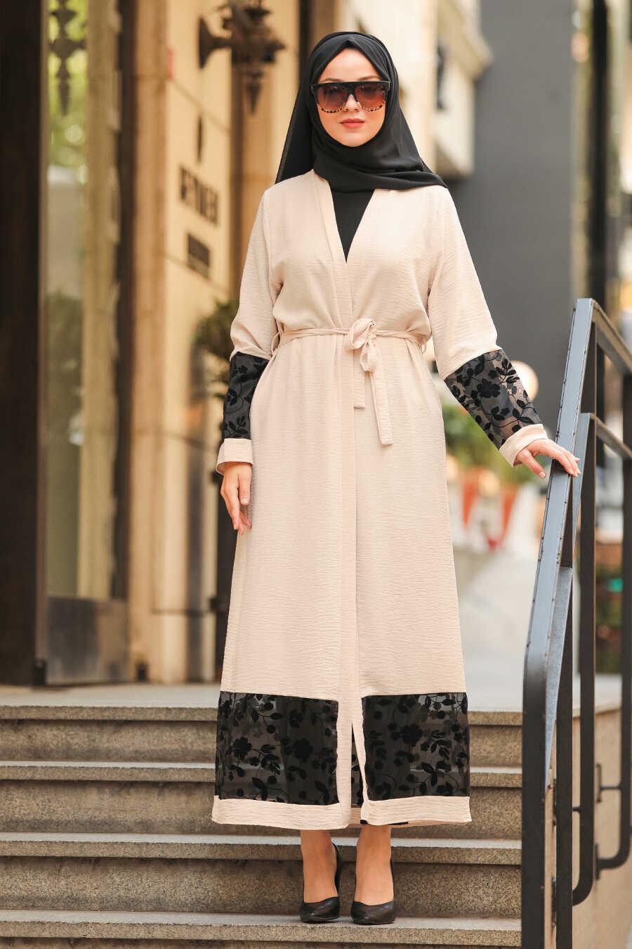 Beige Hijab Abaya Suit 221146BEJ