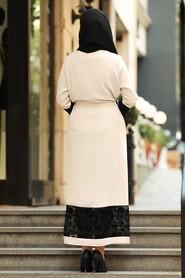Beige Hijab Abaya Suit 221146BEJ - Thumbnail