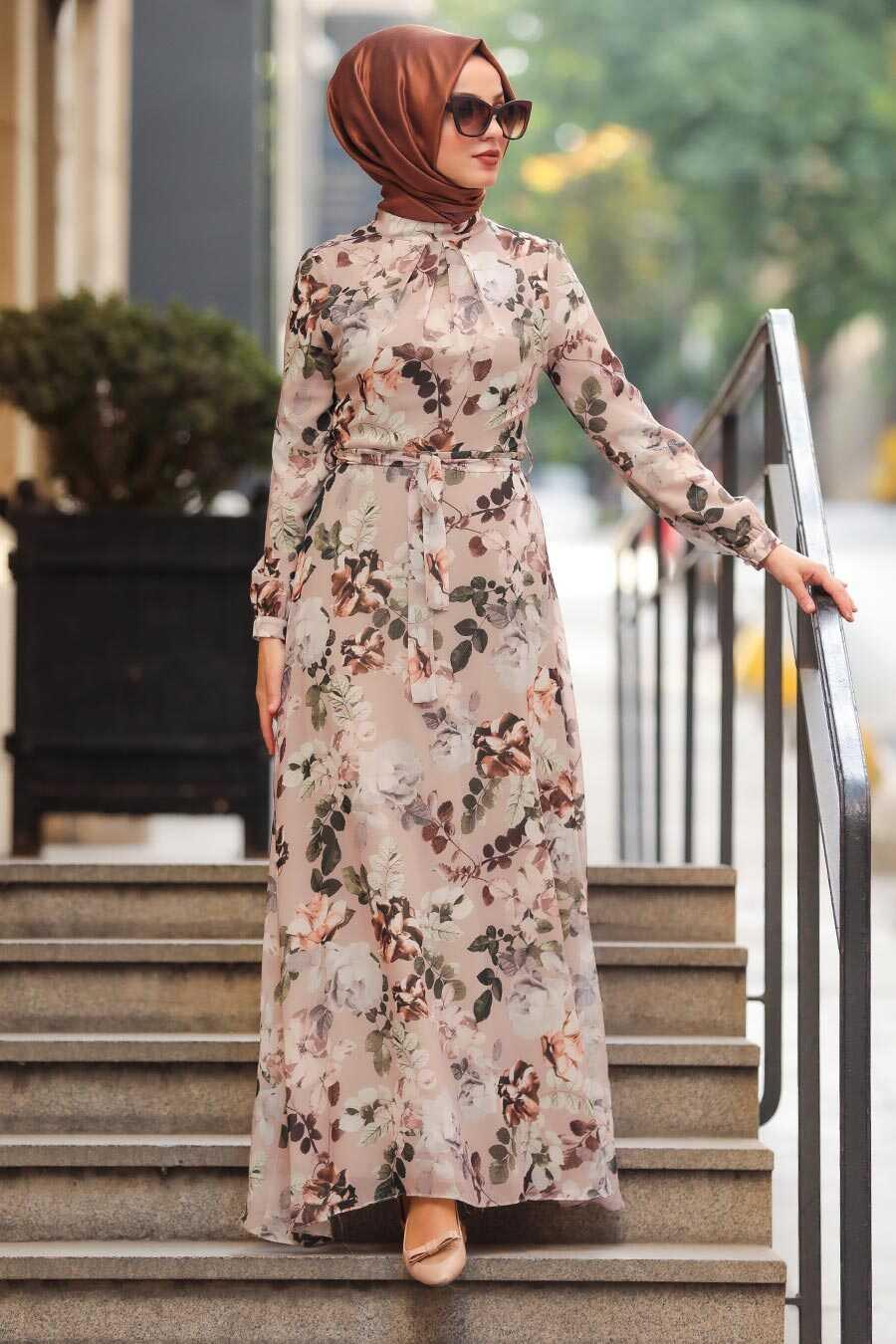 Beige Hijab Daily Dress 81544BEJ