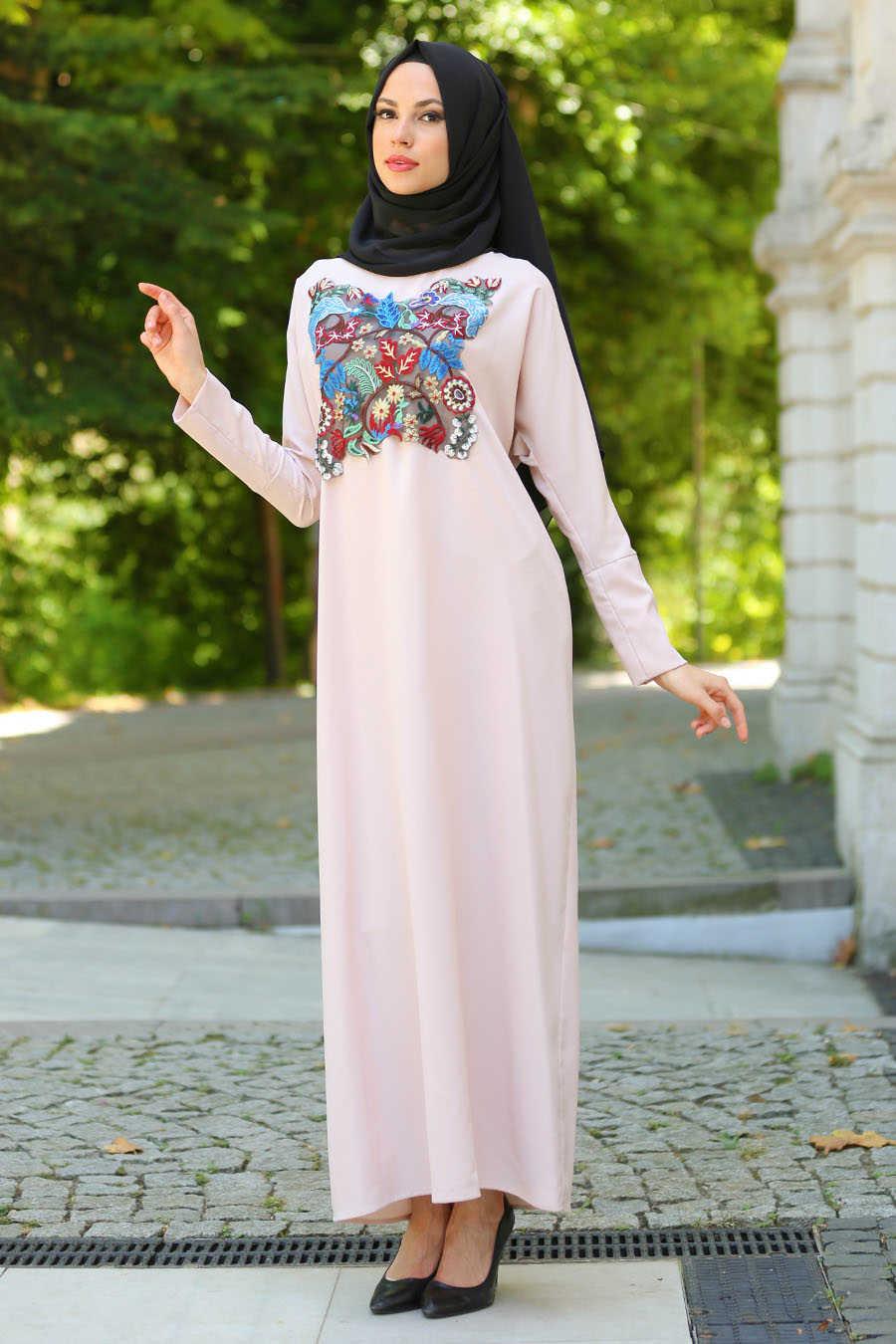 Beige Hijab Dress 3068BEJ