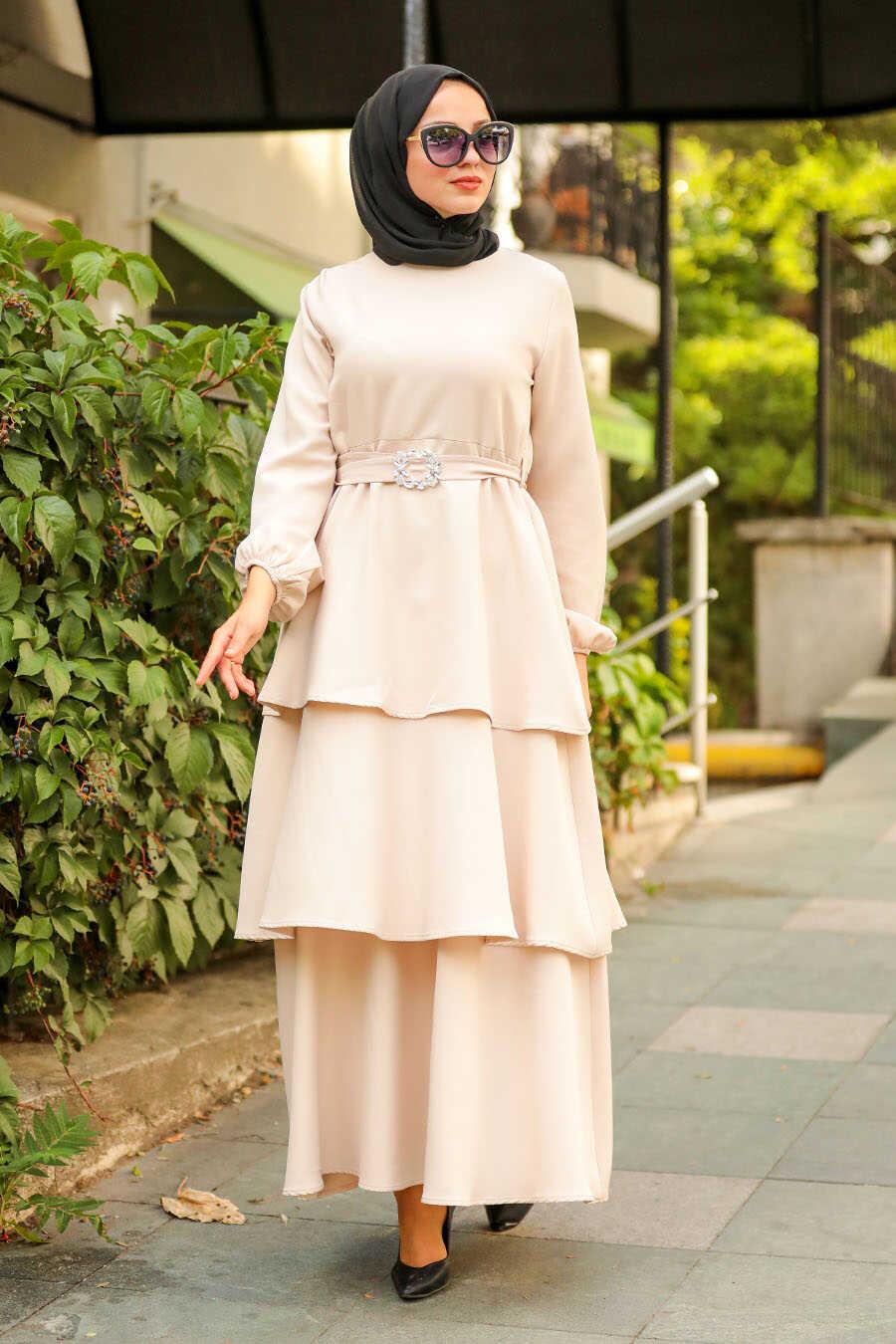 Beige Hijab Dress 1283BEJ