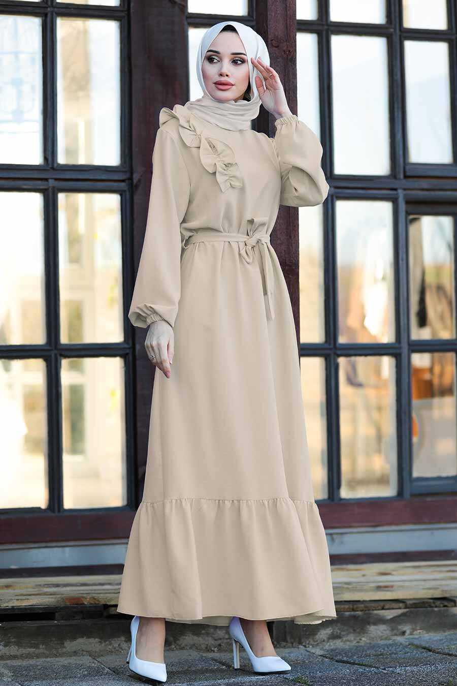 Beige Hijab Dress 1429BEJ