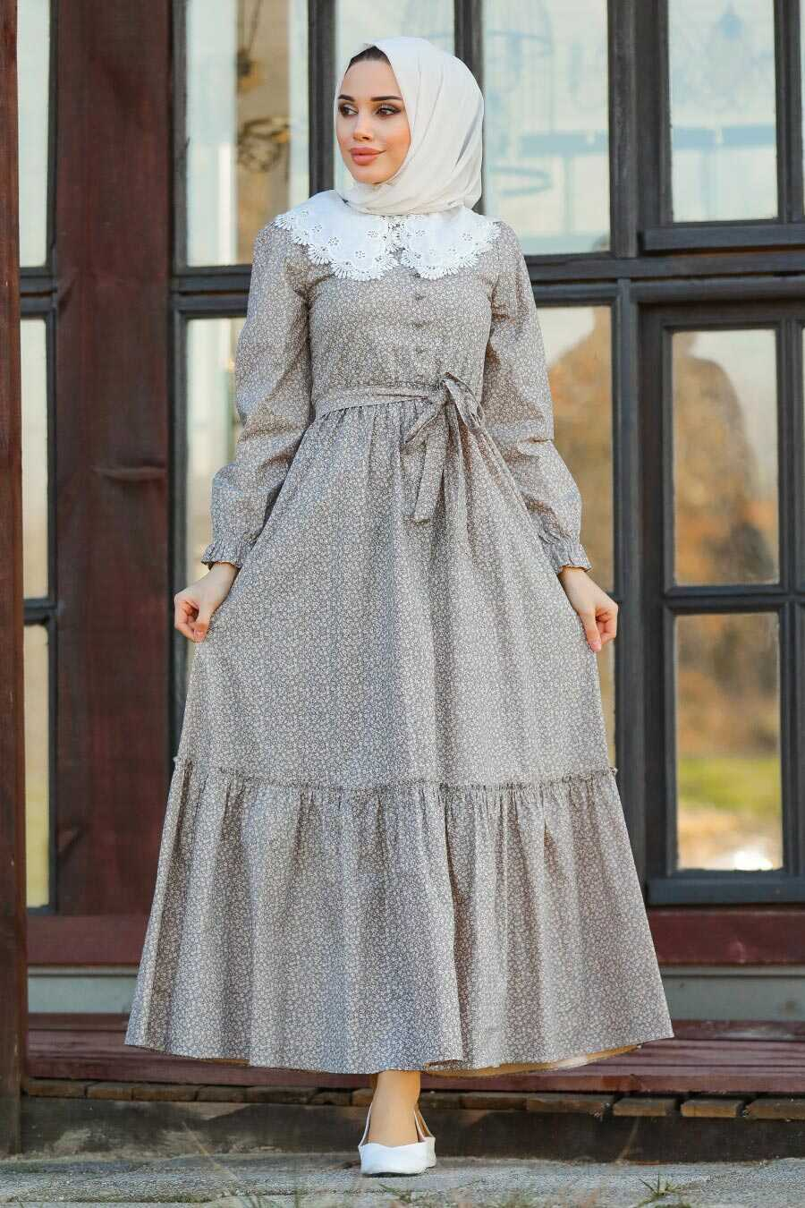 Beige Hijab Dress 14570BEJ
