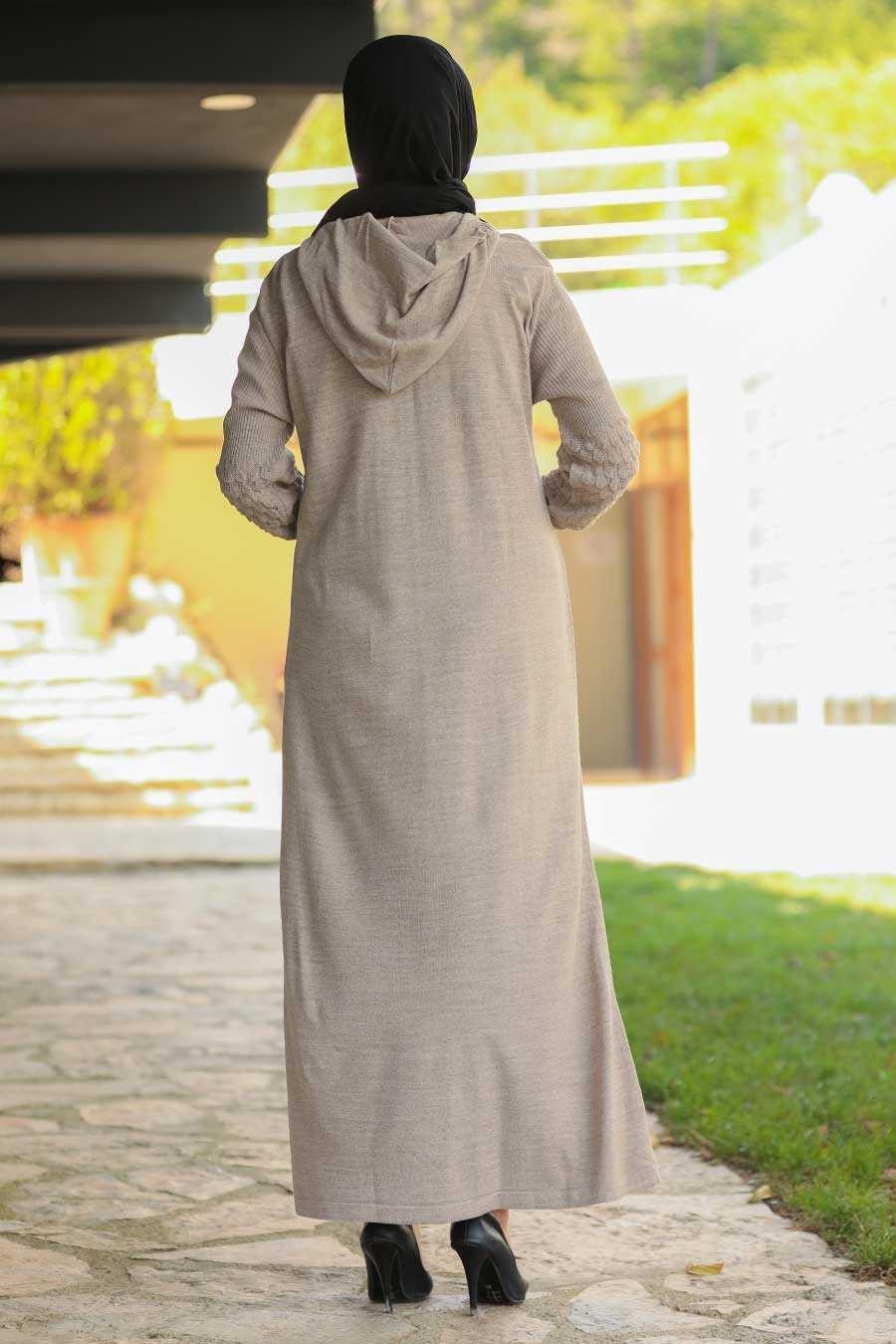 Beige Hijab Dress 2343BEJ