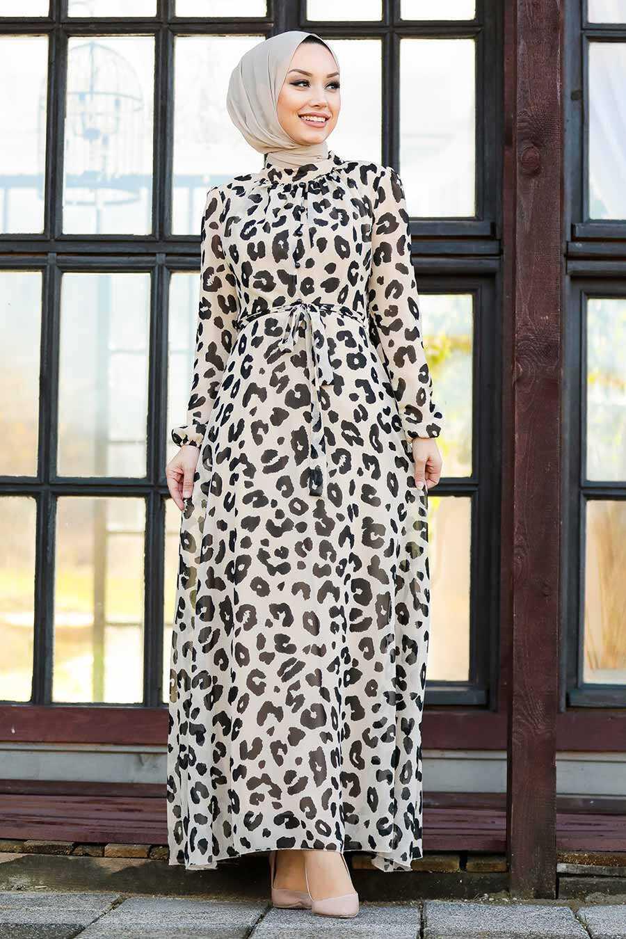 Beige Hijab Dress 81391BEJ