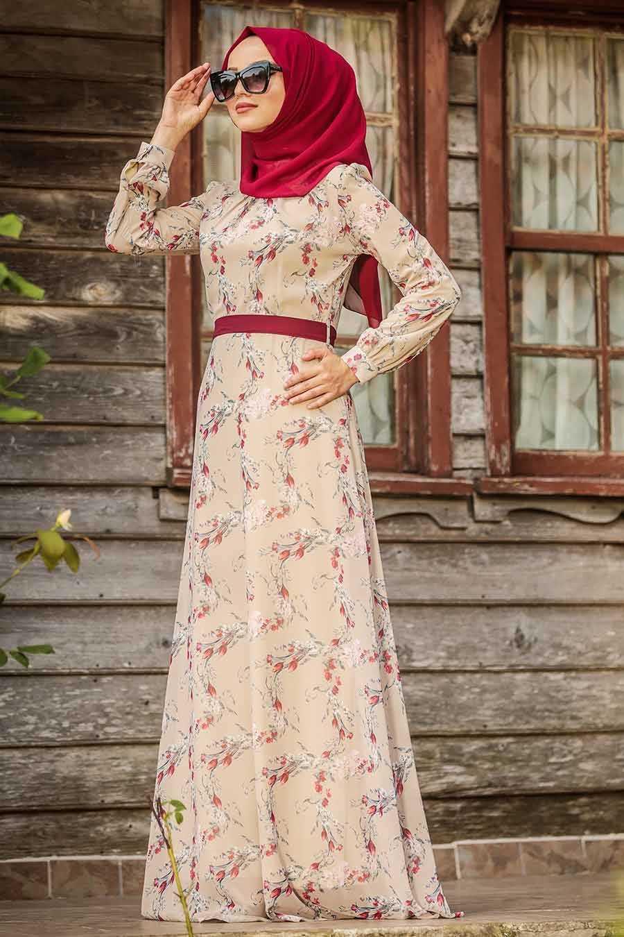 Beige Hijab Dress 815240BEJ