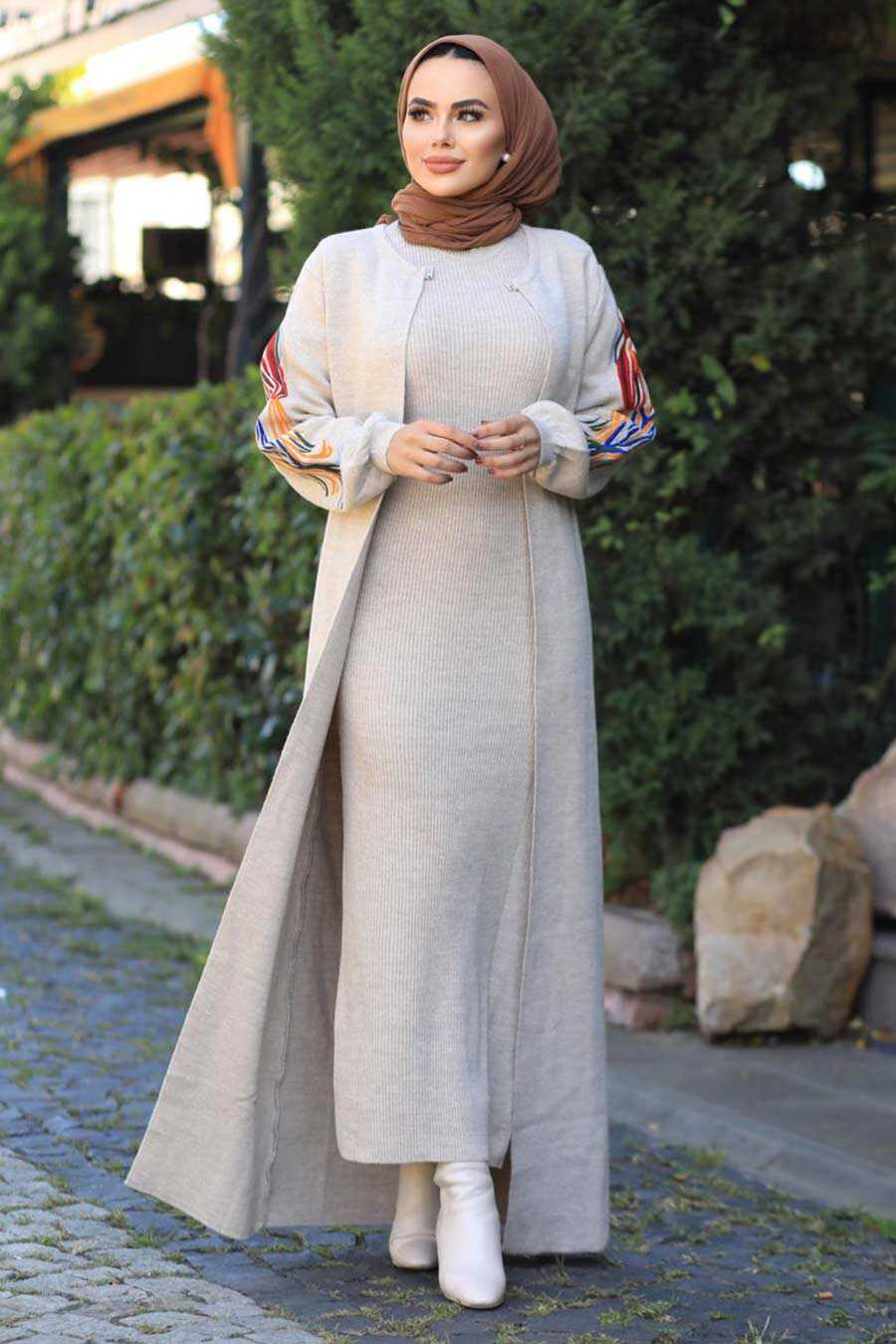 Beige Hijab Dual Suit Dress 2200BEJ